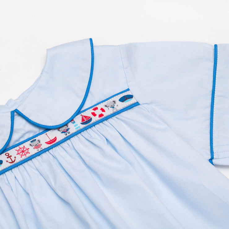 Logan Ribbon Top in Blue Superfine Twill w/ Nautical Ribbon and Cobalt Pique