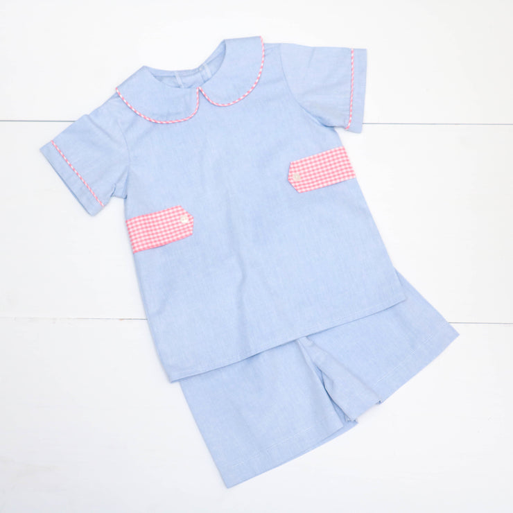 Tyler Top w/ Tabs in Blue Chambray w/ Coral Check