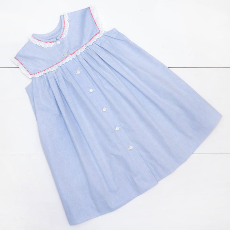 Madeline Dress in Blue Chambray w/ Red Gingham & Lace