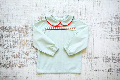 Edward Ribbon Top in Sage Gingham and Red Corduroy with Gingerbread Boy Ribbon (Trim Q)