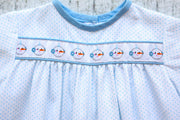 Hunter Long Bubble in Blue Dot Pique and Medium Blue Twill with Snowman Ribbon (Trim P)
