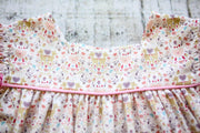 Double Flutter Dress in Pink Deer and Pink Corduroy