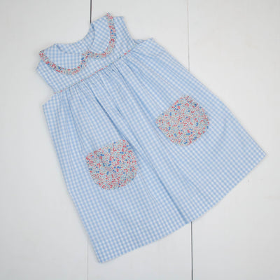 Poppy Dress in Blue Check w/ Harbor Floral