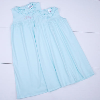Pima Day Dress in Seafoam with Picot Trim