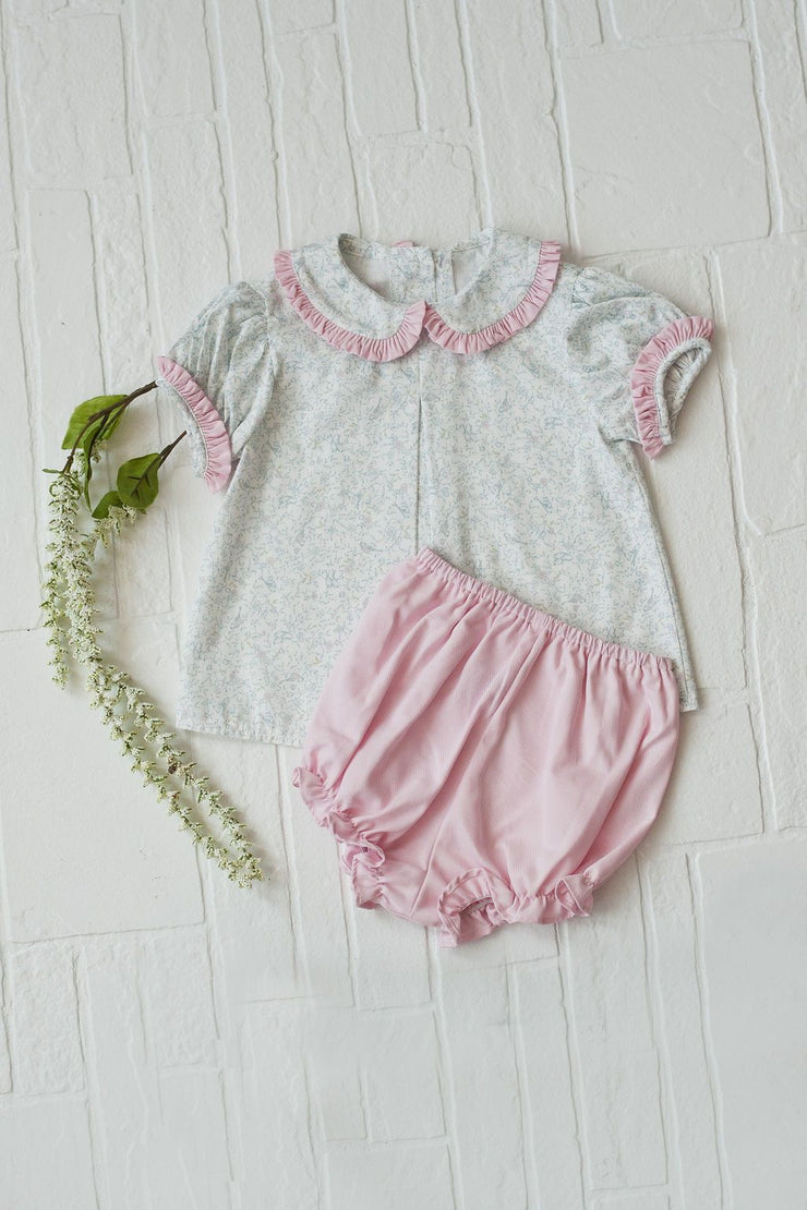 Girl Bloomer in Pink Twill