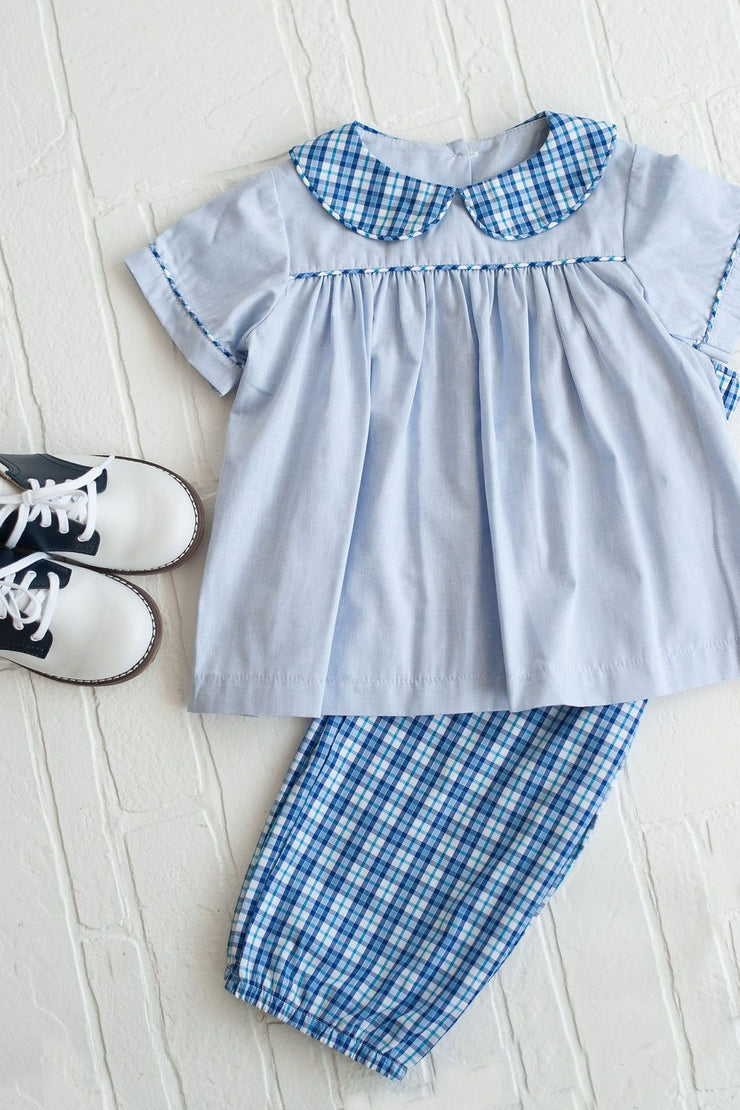Boy Bloomer Pant in Blue Plaid