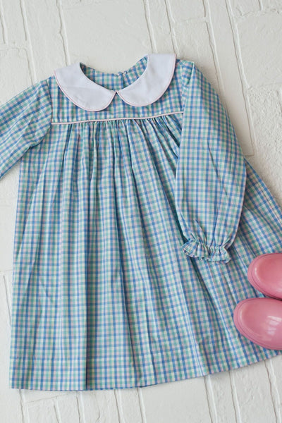 Sally Dress in Rainbow Row Plaid with Pink Pique