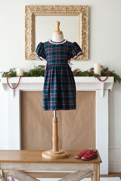 Mae Dress in Classic Tartan with Red Swiss Lace