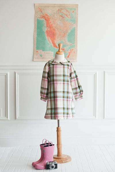 Bobby Apron Dress in Multi Plaid