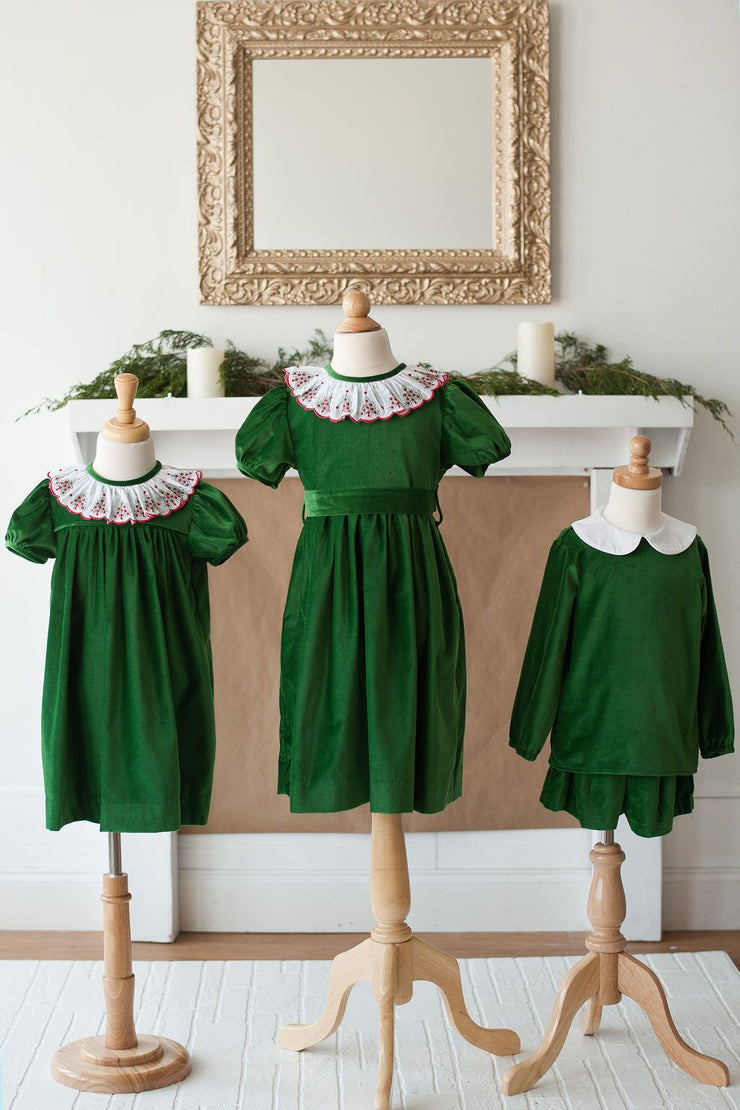 Mary Dress in Emerald Velvet with Swiss Christmas Tree Lace