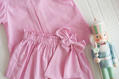 Betty Bow Skirt in Hot Pink Gingham