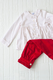 Side Ruffle Top in Red Dot Pique