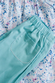 Chloe Pant in Turquoise Pique and White Ric Rac