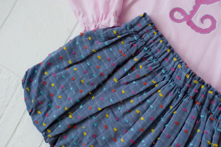Bubble Skirt in Chambray Dot, Fully Lined