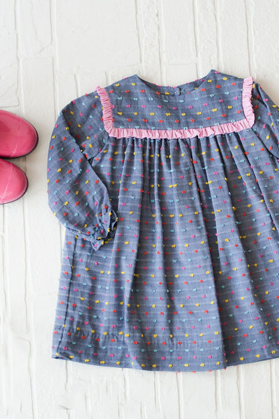 Ann Dress in Chambray Dot with Hot Pink Gingham, Fully Lined