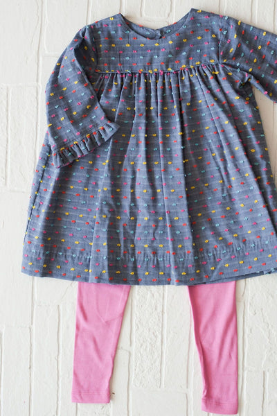 Jasmine Tunic in Chambray Dot, Fully Lined
