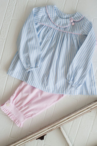 Lila Top in Big Blue Stripe with Pink Corduroy