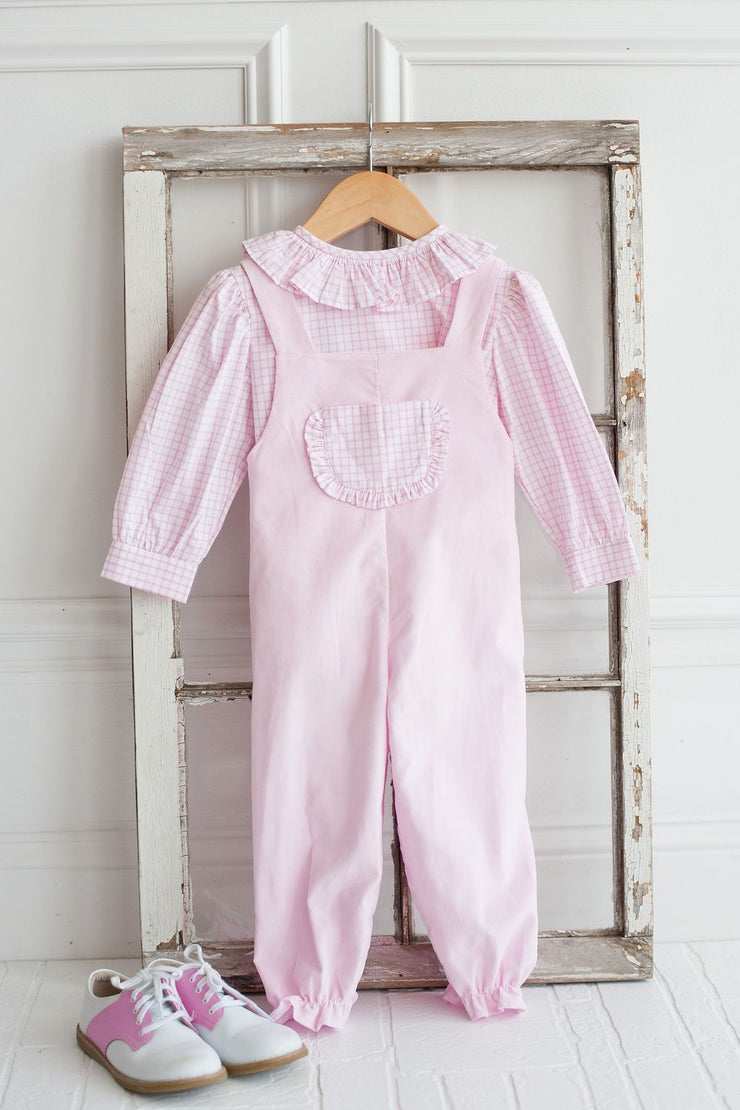 Jill Overall in Pink Pique with Large Pink Windowpane