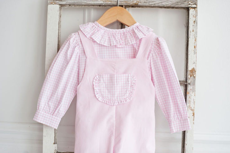Janis Top in Large Pink Windowpane