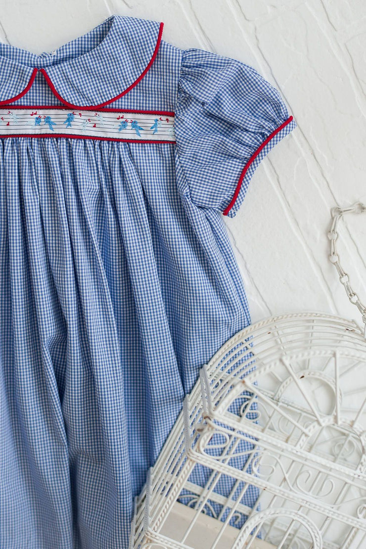 Louise Ribbon Dress in Royal Blue Gingham with Song Birds and Red Corduroy
