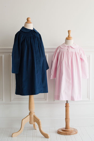 Girl Dress Coat in Navy Corduroy with Navy Check