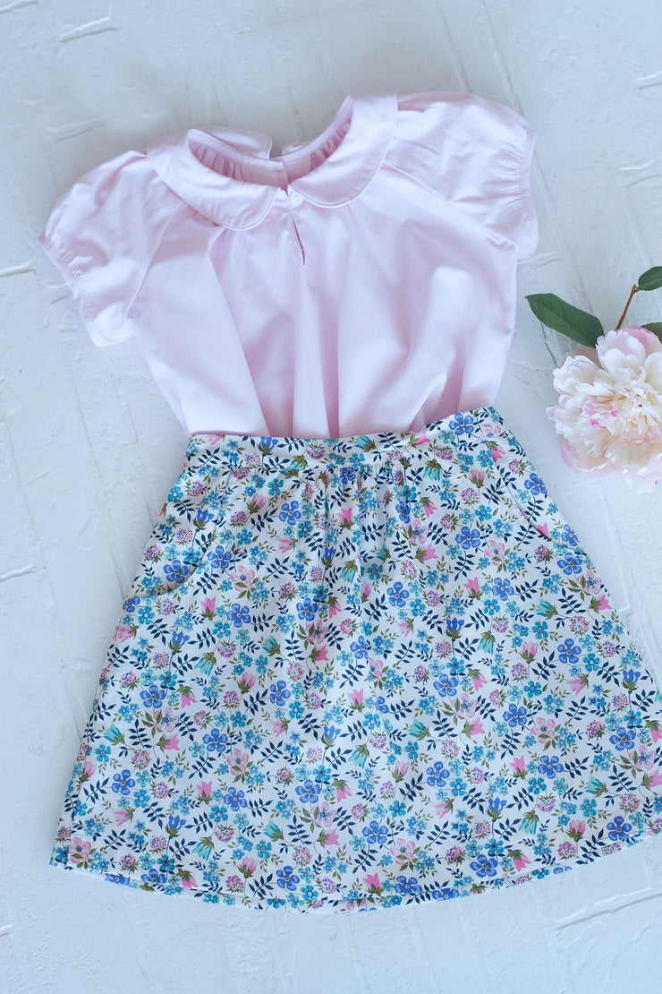 Eliza Skirt in Linen Floral Liberty, Fully Lined
