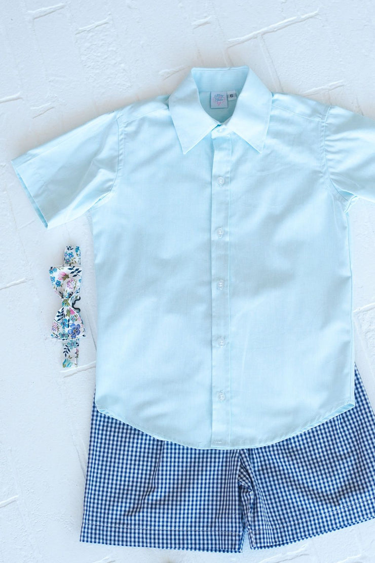 Hammond Top in Aqua Chambray