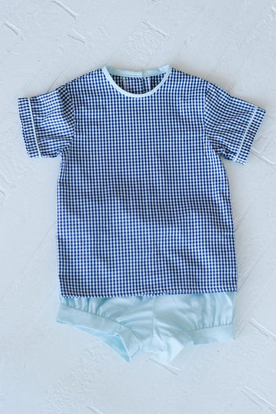 Tucker Top in Navy Check with Aqua Chambray