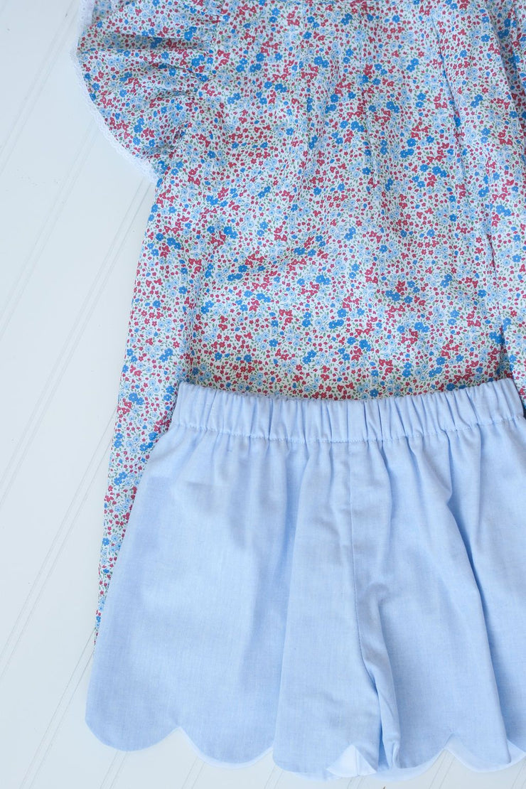 Scallop Shorts in Blue Chambray, Fully Lined
