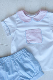 Tyler Pocket Top in White Superfine Twill with Pink Chambray and Blue Gingham