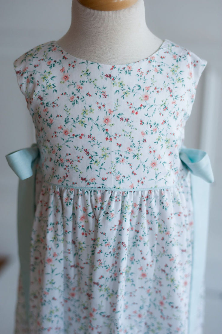 Carolyn Dress in Garden Floral with Aqua Chambray