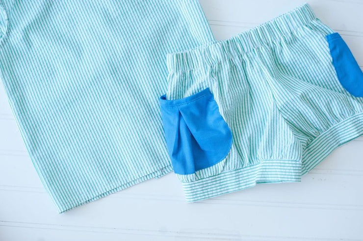 Banded Pocket Shorts in Kelly Stripe Seersucker with Cobalt Pique