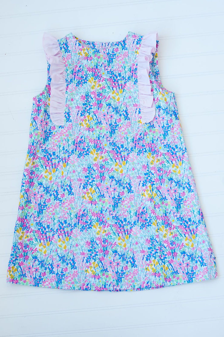 Katie Shift Dress in Summer Floral with Pink Pique