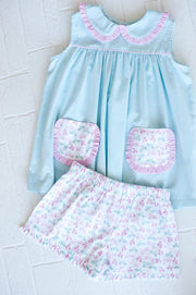 Poppy Top in Aqua Chambray with Pink Gingham and Rosemary Bikes