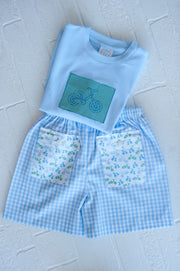 Boy Pocket Short in Big Blue Check with Seaside Bikes
