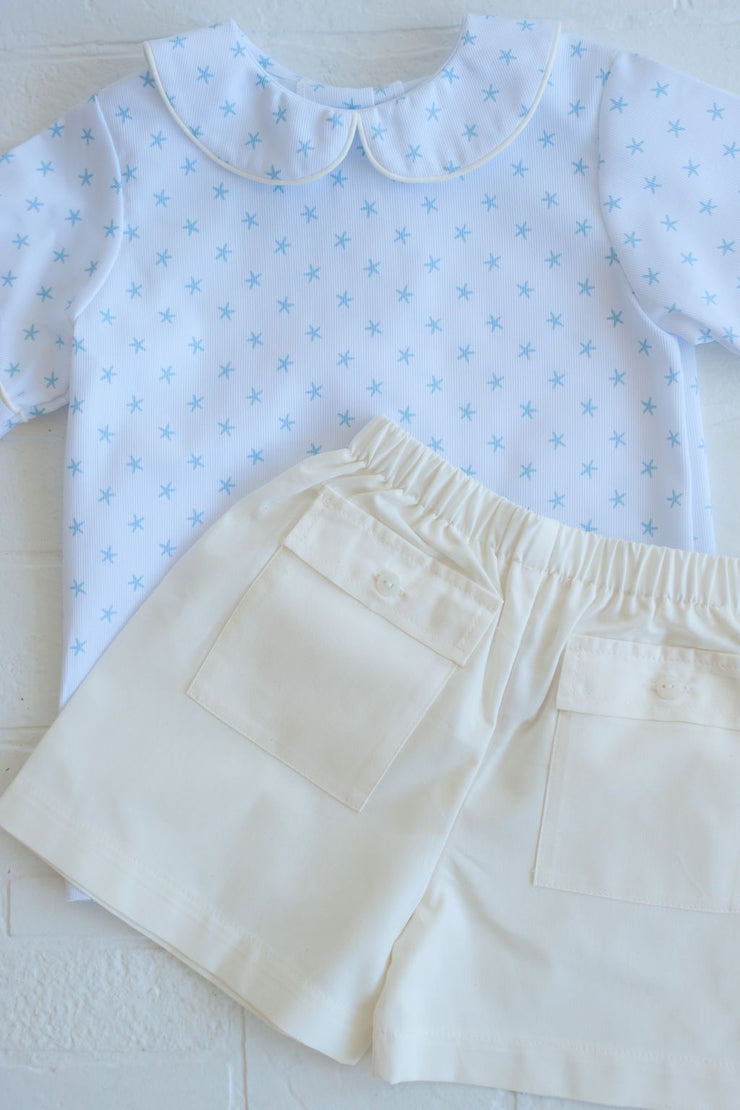 Boy Pocket Short in Sand Dollar Oxford