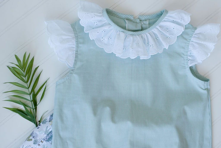 Janie Top in Sage Gingham with Swiss Lace