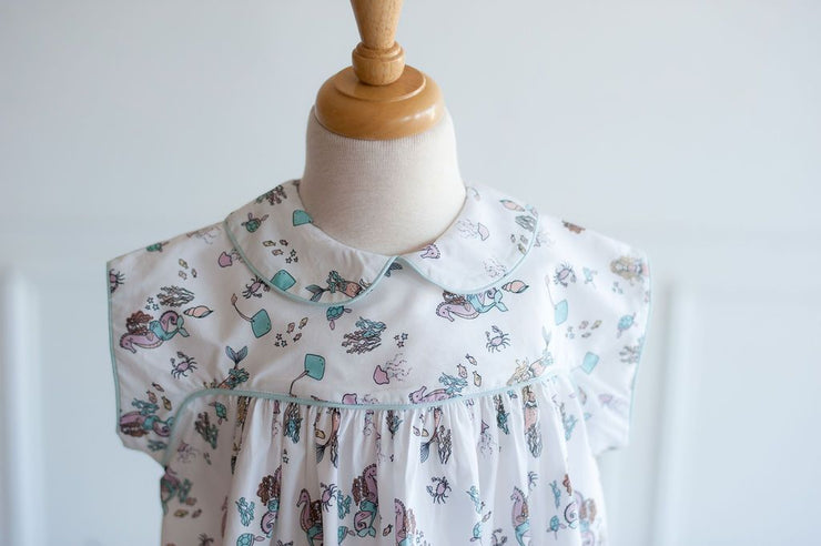 Lucy Dress in Mermaid with Aqua Chambray