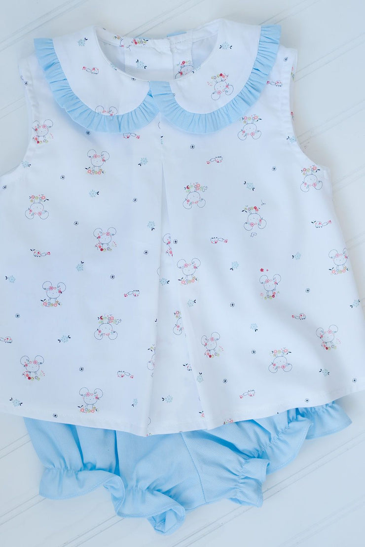 Girl Bloomer in Blue Pique