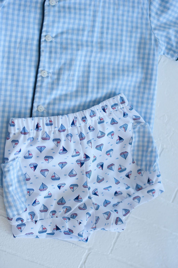 Banded Pocket Short in Sailboat Pique with Big Blue Check