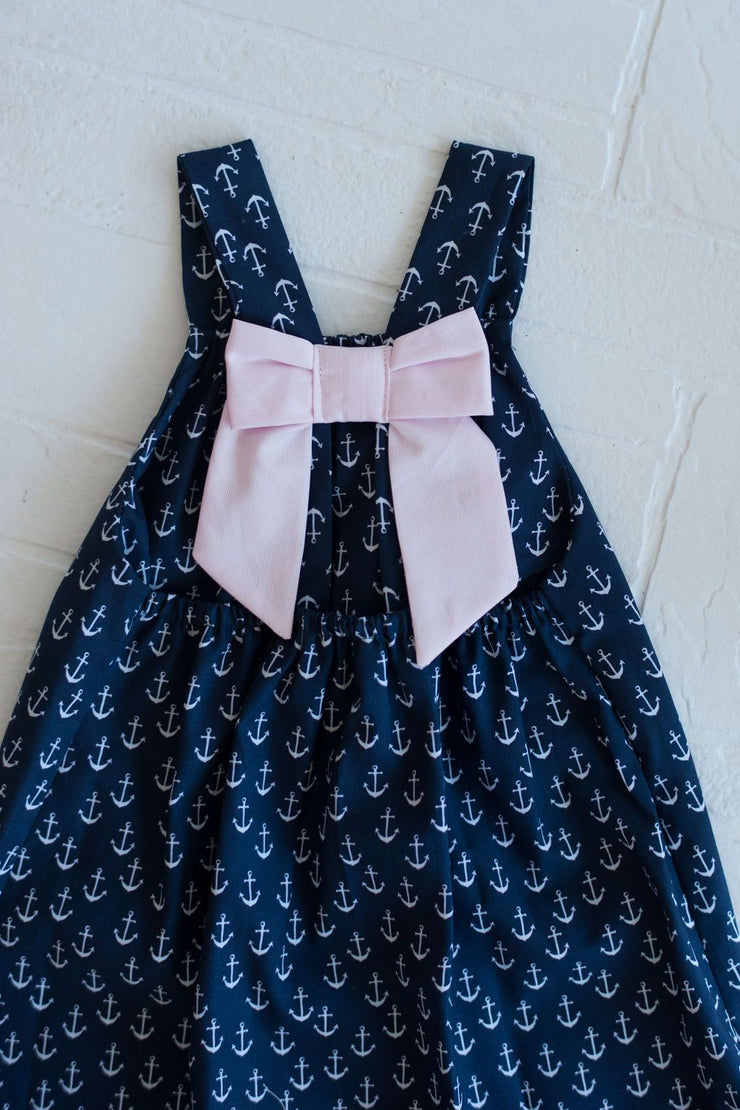Bow Back Dress in Anchors with Pink Pique
