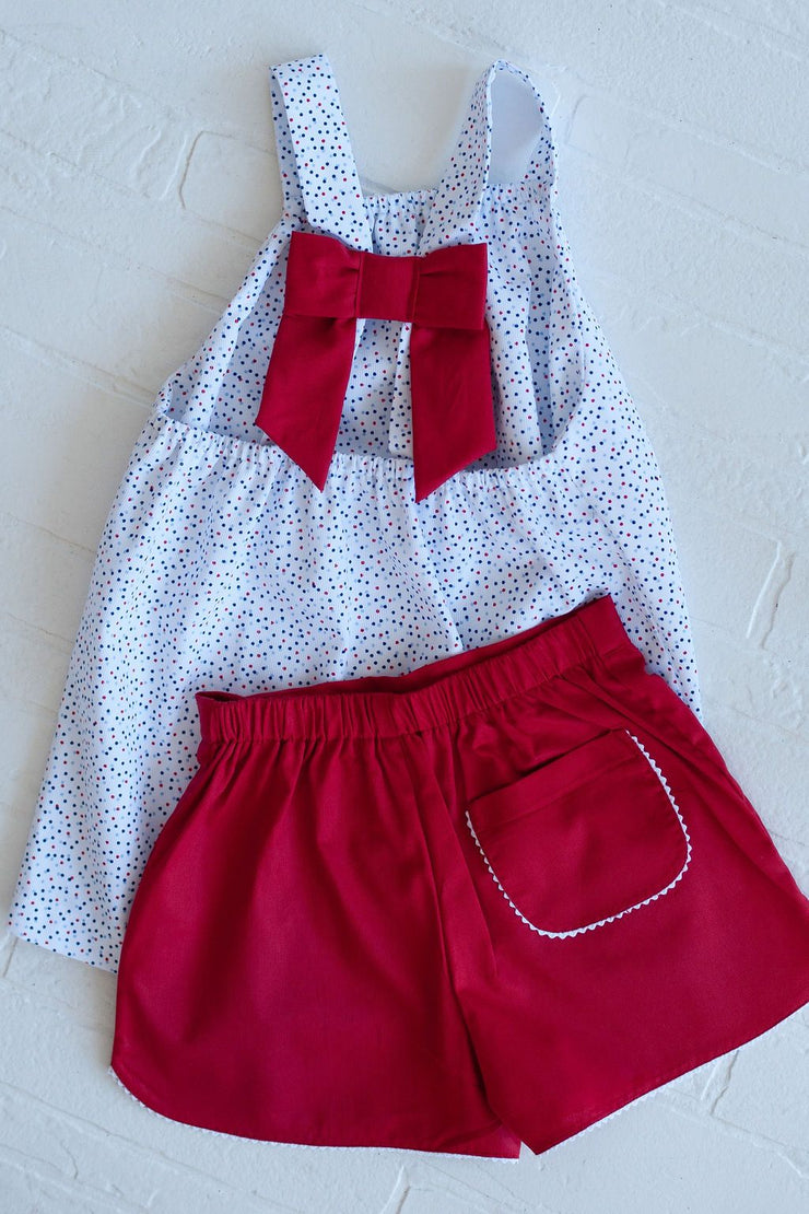 Bow Back Top in Patriotic Dots Pique with Red Pique