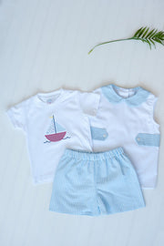 Tyler Top w/ Tabs in White Pique with Blue Stripe Plisse