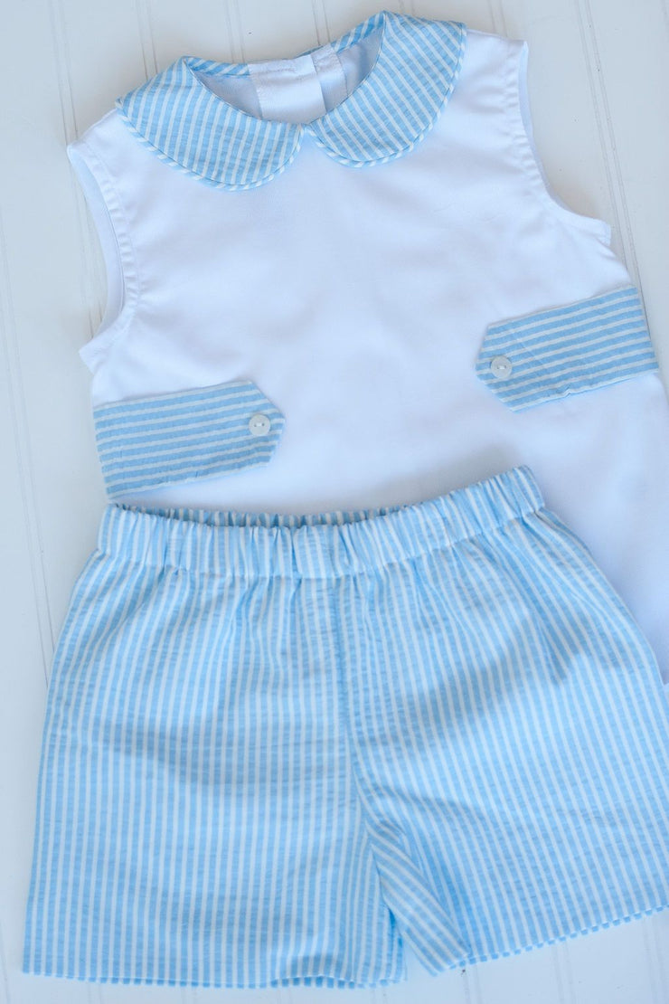 Boy Plain Short in Blue Stripe Plisse, Fully Lined