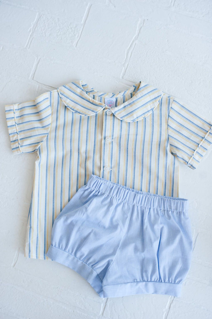 Banded Short in Blue Chambray