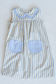 Poppy Dress in Blue/Yellow Stripe with Blue Chambray