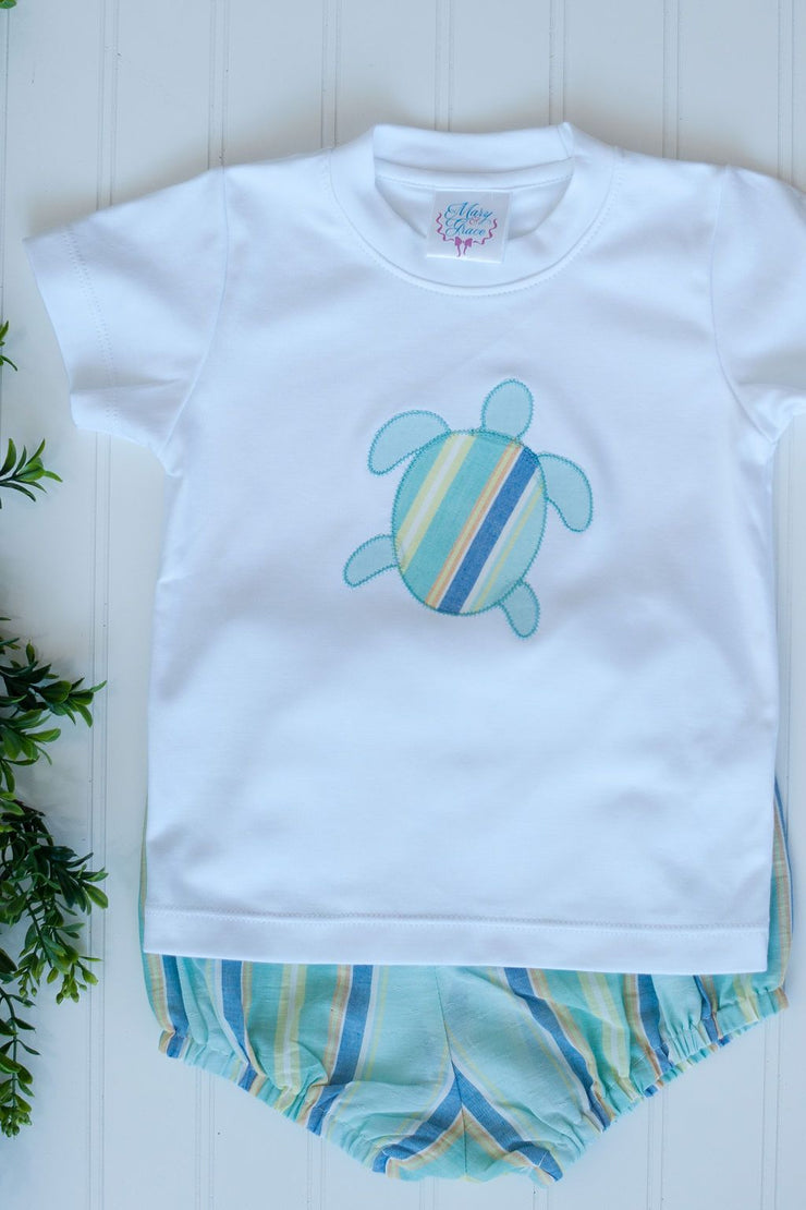Boys White Pima Applique Tee with Sea Turtle