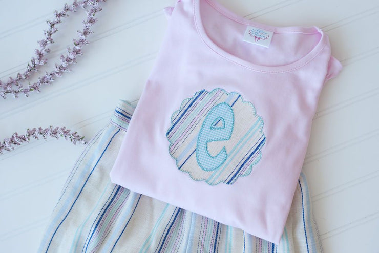 Girls Pink Short Sleeve Pima Applique Tee with Initial Patch
