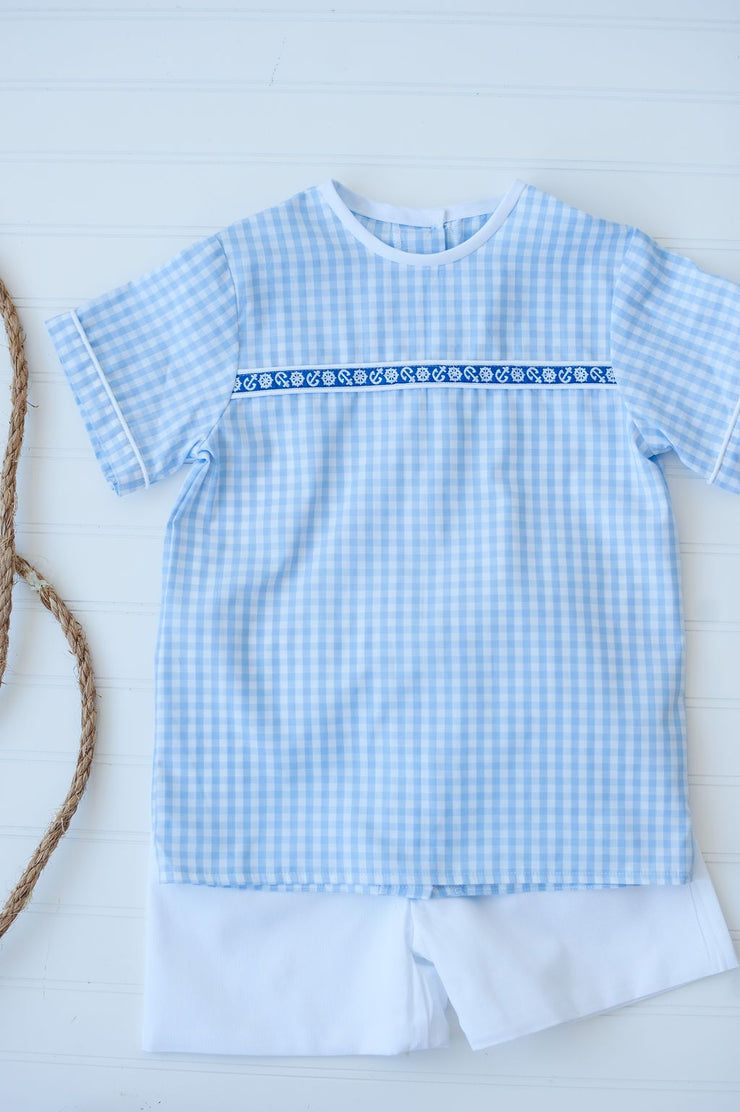 Tucker Ribbon Top in Big Blue Check with Royal Nautical Trim