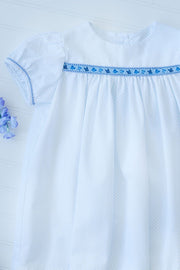 Classic Float Ribbon Dress in Blue Dot Pique with Butterfly Trim